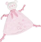 GoKi Kuscheltuch Bär (rosa) mit Herzen