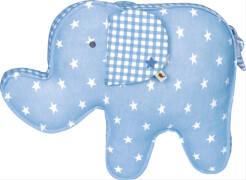 Die Spiegelburg - BabyGlück Kissen Elefant, hellblau, ca. 39 x 28 x 9 cm, aus Baumwolle