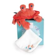 Doudou - Krabbe mit Schmusetuch, koralle 19cm