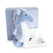 Doudou - Seepferdchen mit Schmusetuch, blau 17cm