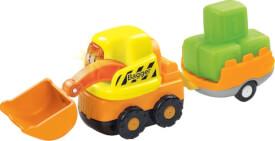 Vtech 80-183904 Tut Tut Baby Flitzer-Bagger und Anhänger, ab 12 Monate - 5 Jahre, Kunststoff, mehrfarbig
