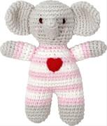 Die Spiegelburg - BabyGlück Häkel-Rassel Elefant, rosa