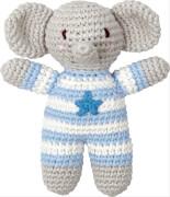 Die Spiegelburg -  BabyGlück Häkel-Rassel Elefant, hellblau