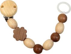 Holz-Schnullerkette, Silikonring, Kleeblatt dunkel