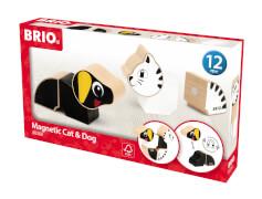 BRIO 63026900 Magnet-Tiere Hund u. Katze