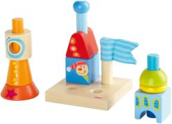HABA Steckspiel Baumeister, klein Stapeln und Stecken, Bausteine entdecken