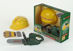 Theo Klein 8435 - Bosch Kettensäge mit Helm und Handschuhe, ca. 40,5x13,5x31 cm, ab 3 Jahren