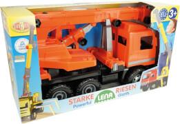 Starke Riesen Actros Kranwagen orange Schaukarton