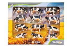 Country Life Kühe-Set schwarz / weiß 12 Stück