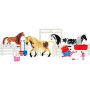 TOITOYS HORSES Pferd 2St. mit Zaun und viel Zubehör, 4-fach sortiert