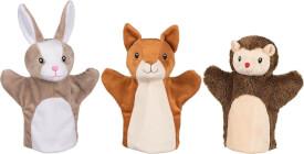 GoKi Handpuppen Eichhörnchen, Hase und Igel, sortiert