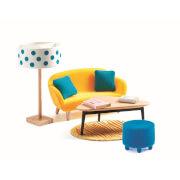 Puppenhaus: Orangenes Wohnzimmer