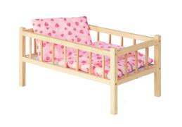 Holz-Puppenbett mit Bettzeug