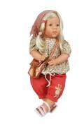 Schildkröt Puppe Elli 52 cm blonde Haare, blaue Schlafaugen, Kleidung rot/braun/rose
