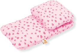 Puppenbettzeug für Puppenwagen Herzchen, rosa, 2-tlg.