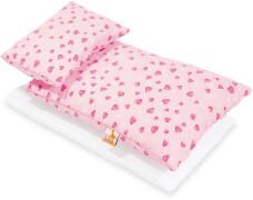 Puppenbettzeug für Puppenbetten Herzchen, rosa, 3-tlg.