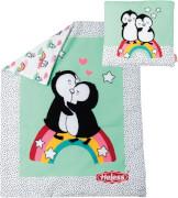 Puppen-Bettdecke Pinguin Pünktchen (44 x 34 cm) mit Kissen (16 x 16 cm)