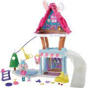 Mattel GJX50 Enchantimals Hasen-Skihütte mit Bevy Bunny & Jump