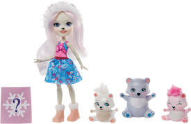 Mattel GJX47 Enchantimals Pristina Polar Bear Puppe, Glacier & Familie