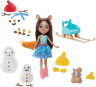 Mattel GNP16 Enchantimals Schneemann Deko-Spaß Spielset mit Sharlotte Squirrel & Walnut