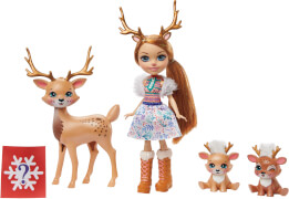 Mattel GNP17 Enchantimals Rainey Reindeer Puppe, Marathon & Familie