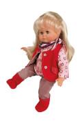 Schildkröt Puppe Schlummerle 37 cm blonde Haare, blaue Schlafaugen, Reitkleidung rose/rotu/rot