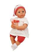 Schildkröt Baby Julchen 52 cm Malhaar, blaue Schlafaugen, Kleidung rot/weiss, mit Flasche