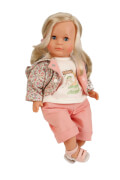 Schildkröt Puppe Hanni 45 cm blonde Haare, blaue Schlafaugen, Kleidung rose/weiss
