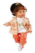 Schildkröt Puppe Susi 45 cm braune Haare, blaue Schlafaugen, Kleidung Veggie in orange
