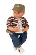 Schildkröt Puppe Peterle 52 cm mit Malhaar, blauen Schlafaugen, Dinolkleidung