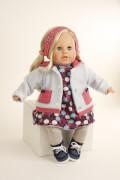 Schildkröt Puppe Susi 45 cm blonde Haare, blaue Schlafaugen, Kleidung winterlich in blau/grau