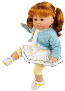Schildkröt Puppe Susi 45 cm rote Haare, blaue Schlafaugen, Kleidung sommerlich in blau/weiss/gelb