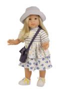 Schildkröt Stehpuppe Elli 52 cm blonde Haare, blaue Schlafaugen, sommerkliche Kleidung blau/weiss/gelb