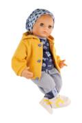 Schildkröt Puppe Peterle 52 cm mit Malhaar, blauen Schlafaugen, Fussballkleidung