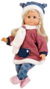 Schildkröt Puppe Schlummerle 37 cm blonde Haare, blaue Schlafaugen, Winterkleidung blau/rot