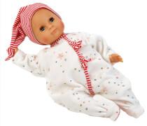 Schildkröt Puppe Schlummerle 32 cm mit Malhaar und blauen Schlafaugen, Overall weiß/rot