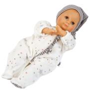 Schildkröt Puppe Schlummerle 32 cm mit Malhaar und blauen Schlafaugen, Overall weiß/blau
