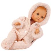 Schildkröt Puppe Schlummerle 32 cm mit Malhaar und braunen Schlafaugen, Winterkleidung rose
