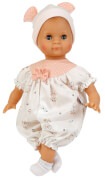 Schildkröt Puppe Schlummerle 32 cm mit Malhaar und blauen Schlafaugen, Overall weiß/rose
