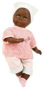 Schildkröt Puppe Schlummerle schwarz 32 cm mit Malhaar und braunen Schlafaugen, Kleidung rose/mint/weiss