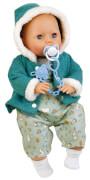 Schildkröt Baby Amy 45 cm mit Schnuller, Malhaar, blaue Schlafaugen, Winterkleidung mint/weiss