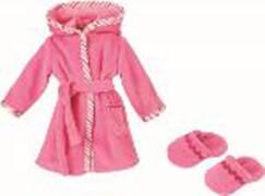 Käthe Kruse Bademantel rosa mit Hausschuhen 30-33 cm