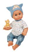 Schildkröt Badepuppe 45 cm Brüderchen mit Malhaar und blauen Schlafaugen, Kleidung blau/weiss