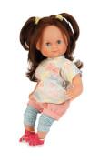 Schildkröt Puppe Schlummerle 32 cm braune Haare, blaue Schlafaugen, Kleidung blau/mint/rose/gelb