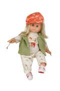 Schildkröt Puppe Schlummerle 37 cm blonde Haare, blaue Schlafaugen, Kleidung beige/grün/orange