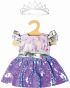 Puppen-Kleid Fee und Einhorn mit Wendepailletten und silberner Krone, Gr. 28-35 cm