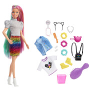 Mattel GRN81 Barbie Leoparden Regenbogen-Haar Puppe
