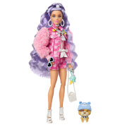 Mattel GXF08 Barbie Extra Puppe mit lila-welligen Haaren