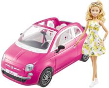 Mattel GXR57 Barbie Auto Fiat Cabrio (pink), inkl. Barbie Puppe, Set, Zubehör