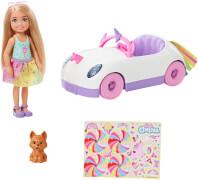 Mattel GXT41 Barbie Chelsea Puppe Spiel-Set inkl. Auto, Regenbogen-Einhorn Zubehör